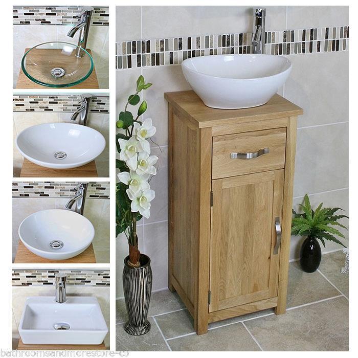 Solid Oak Bathroom Cabinet Compact Vanity Sink Small
