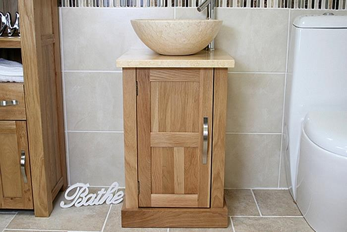 Good Cloakroom Bathroom Vanity Unit Oak Cream Marble Stone Wash Stand And Basin  309