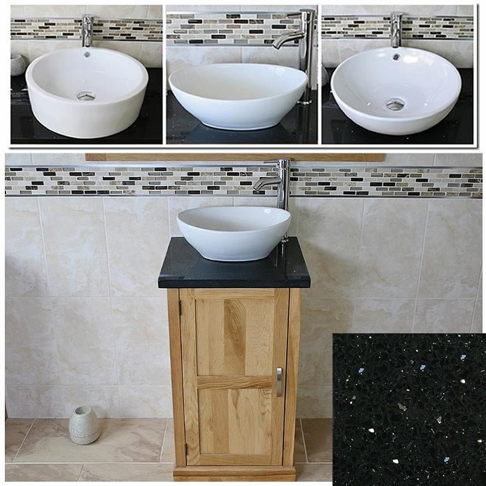 Cloakroom Bathroom Vanity Unit Cabinet Oak Quartz Marble Stone Ceramic Basin