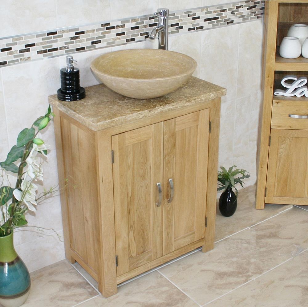 Solid Oak Bathroom Vanity Unit Bathroom Slimline Cabinet Travertine Worktop