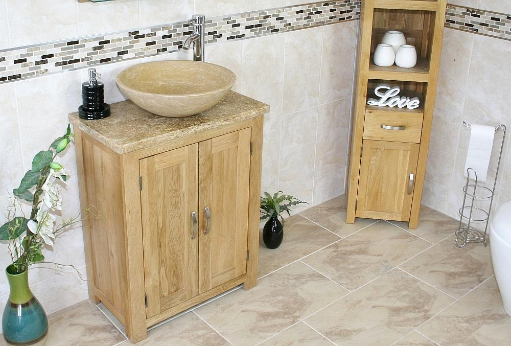 Solid Oak Bathroom Vanity Unit Bathroom Slimline Cabinet