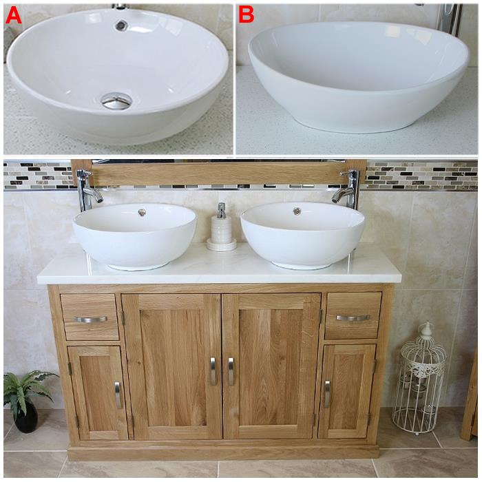 Solid Oak Bathroom Vanity Unit | Twin Sink Bathroom Cabinet | Stone Worktop  Inc