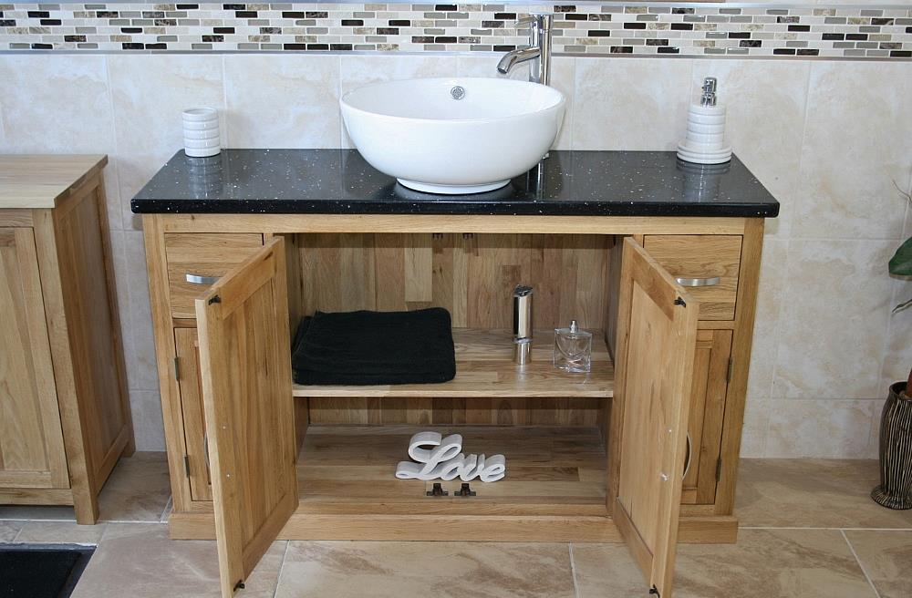 Oak bathroom vanity unit 123cm wide with black quartz top for Bathroom cabinets 500mm wide