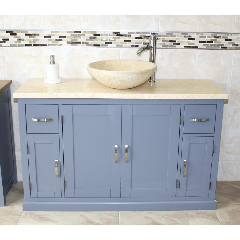Bathroom Single Vanity Unit Grey Painted Cabinet Cream Marble Top Basin 402 Ebay