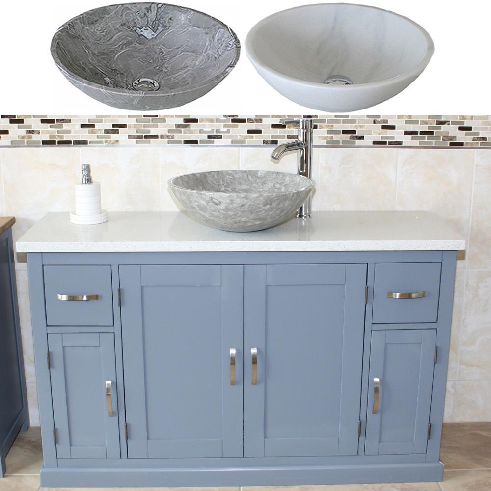 Grey Painted Bathroom Vanity Unit Quartz Top Cabinet Marble Bowl Basin Ebay