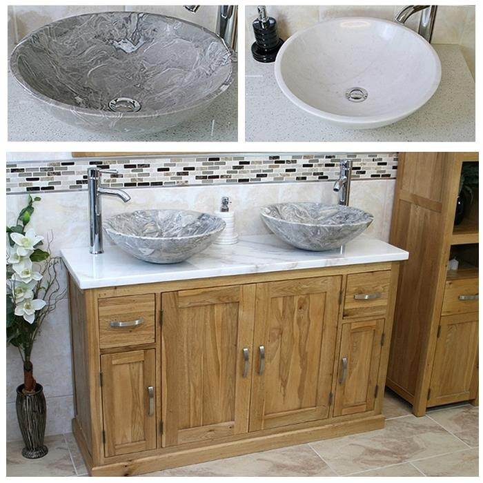Solid Oak Bathroom Vanity Unit Cabinet Twin Marble Bowl Basin Tap