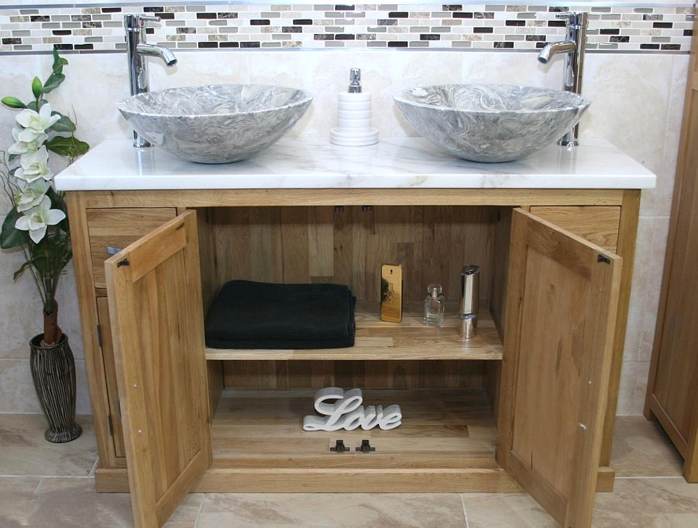 Solid Oak Bathroom Vanity Unit Cabinet Twin Marble Bowl Basin Tap Plug 402 Multi Ebay