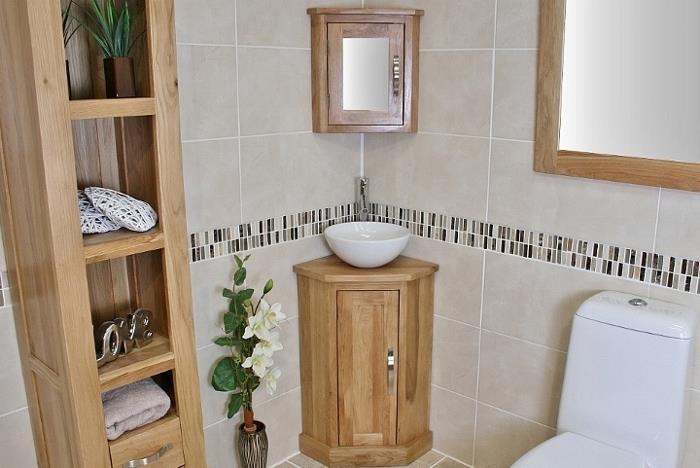Oak Wall Mounted Mirrored Bathroom Corner Cabinet