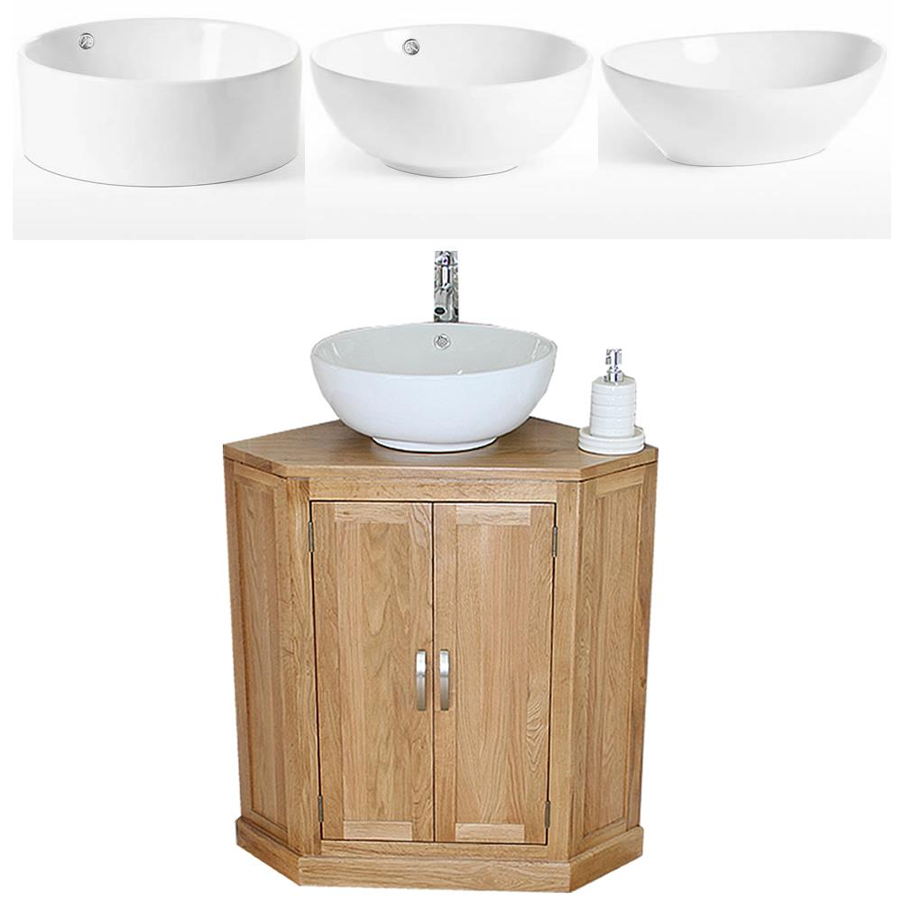 Bathroom Vanity Unit Oak Cabinet Corner Wash Stand White Ceramic Basin 501b A Ebay