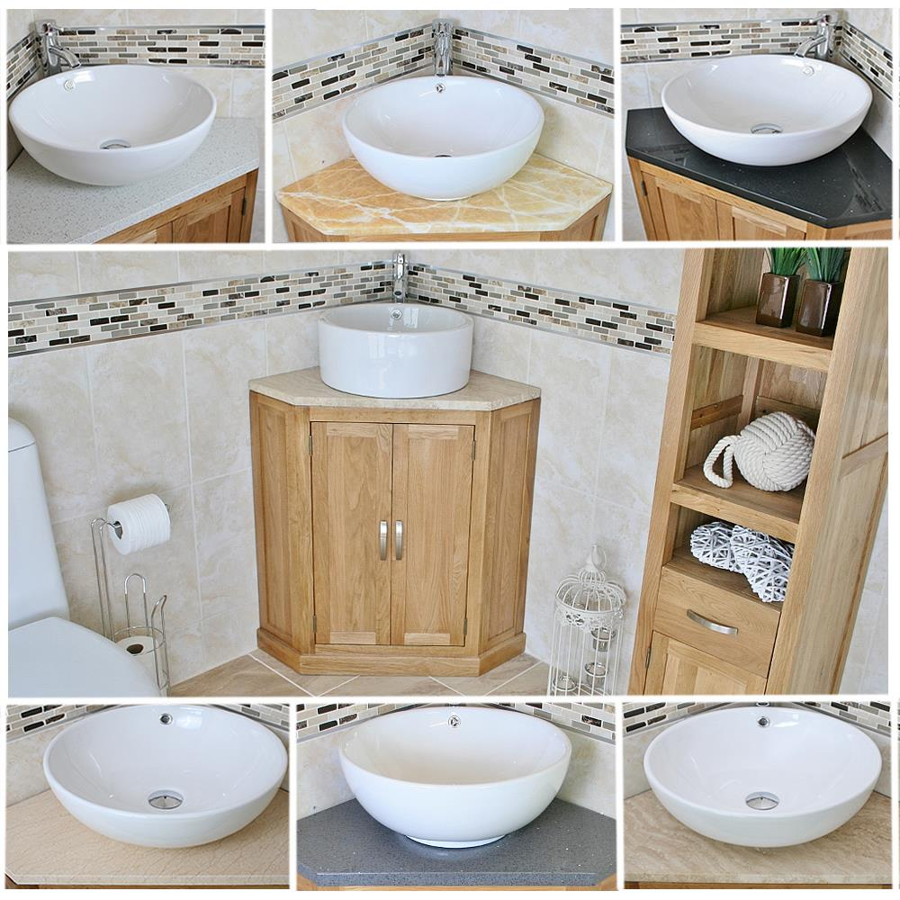 Solid Oak Bathroom Corner Vanity Unit Sink Basin Cabinet Stone Worktop Inc Ebay