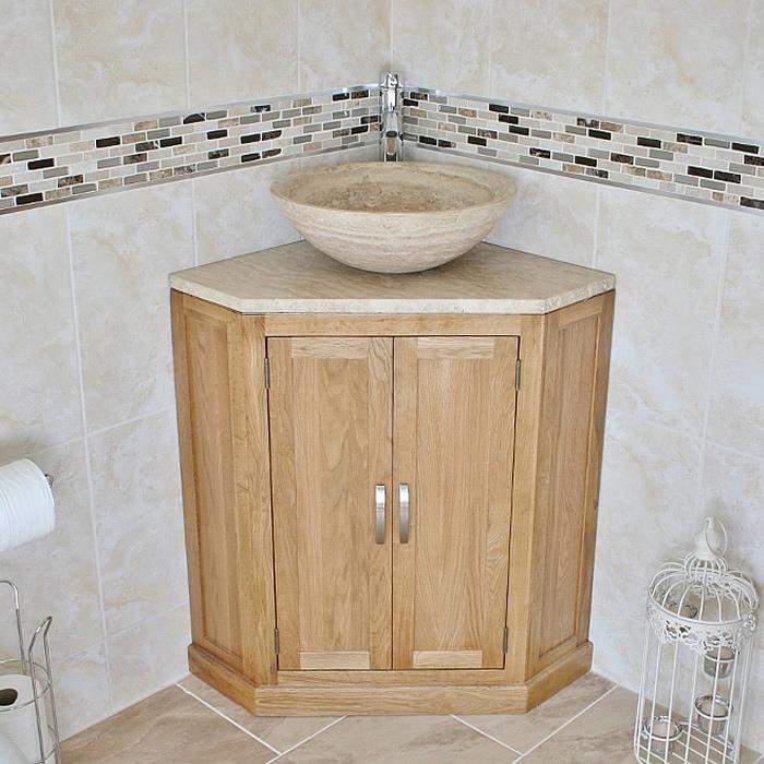 Bathroom Vanity Unit Free Standing Oak Corner Cabinet Travertine Top U0026 Basin