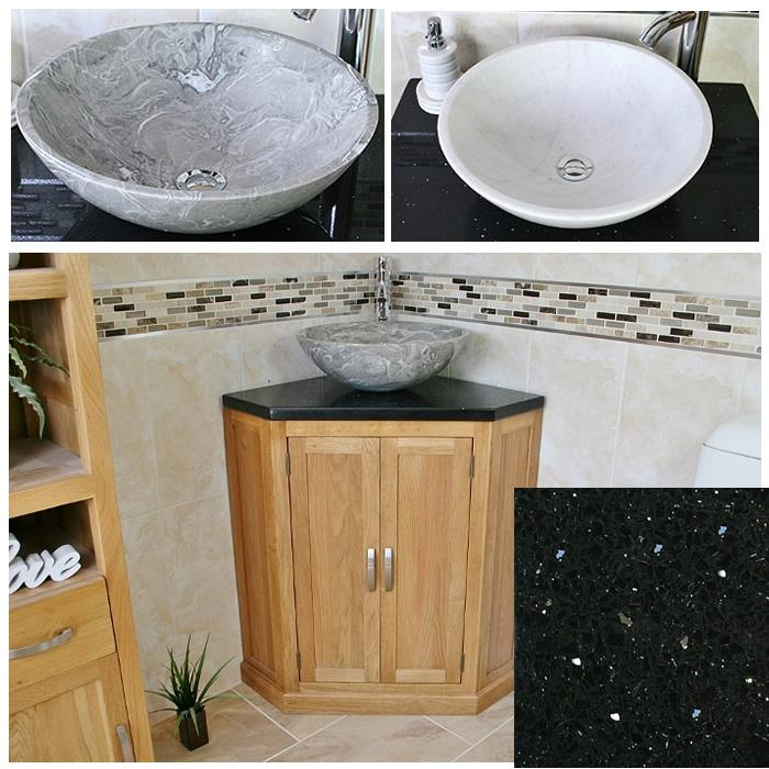 Bathroom vanity unit free standing oak corner cabinet black quartz marble basin ebay for Black corner bathroom cabinet