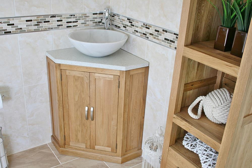 Bathroom vanity unit free standing oak corner cabinet white quartz marble basin ebay for Free standing bathroom cabinets white