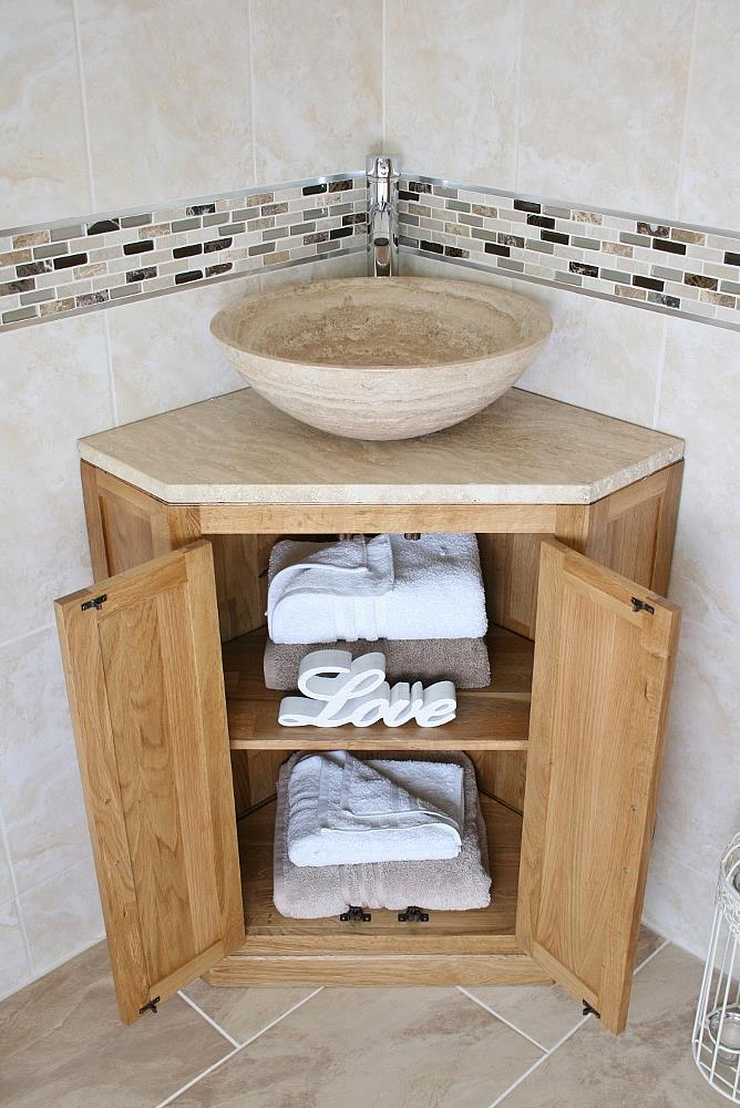 Bathroom vanity unit free standing oak corner cabinet for Floor standing corner bathroom cabinet