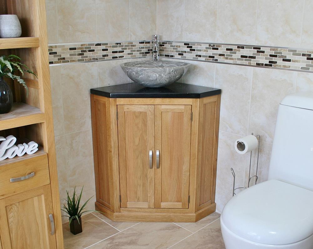 Bathroom Vanity Unit Free Standing Oak Corner Cabinet Black Quartz Marble  Basin