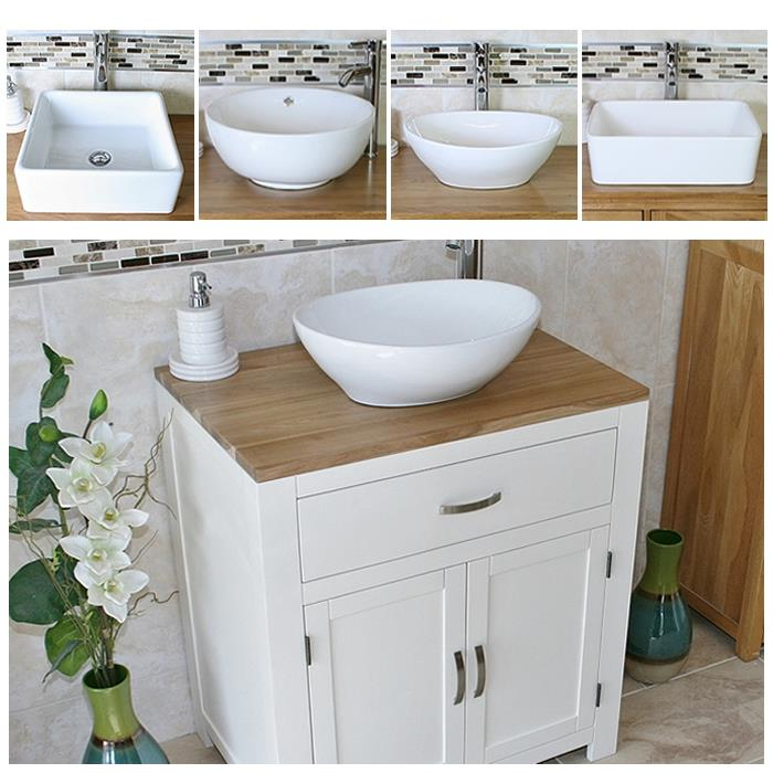 bathroom vanity unit off white cream wash stand white ceramic basin 502pcbc - Bathroom Vanity Units