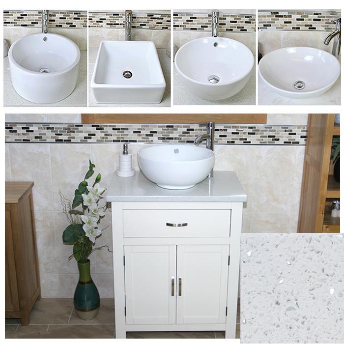 bathroom vanity unit free standing wooden cabinet white quartz ceramic