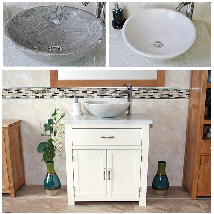 Bathroom Vanity Unit Off Whitecream Painted White Marble Top