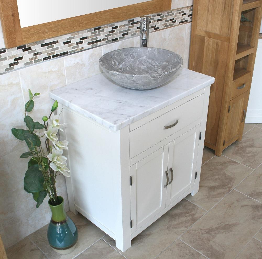 Bathroom Vanity Unit Wooden Cabinet Wash Stand White
