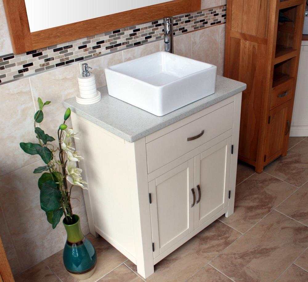 Bathroom Vanity Unit Free Standing Wooden Cabinet White Quartz Ceramic Basin Set