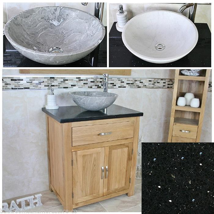 Bathroom Vanity Unit Oak Cabinet Wash Stand Black Quartz Marble Stone Basin 5