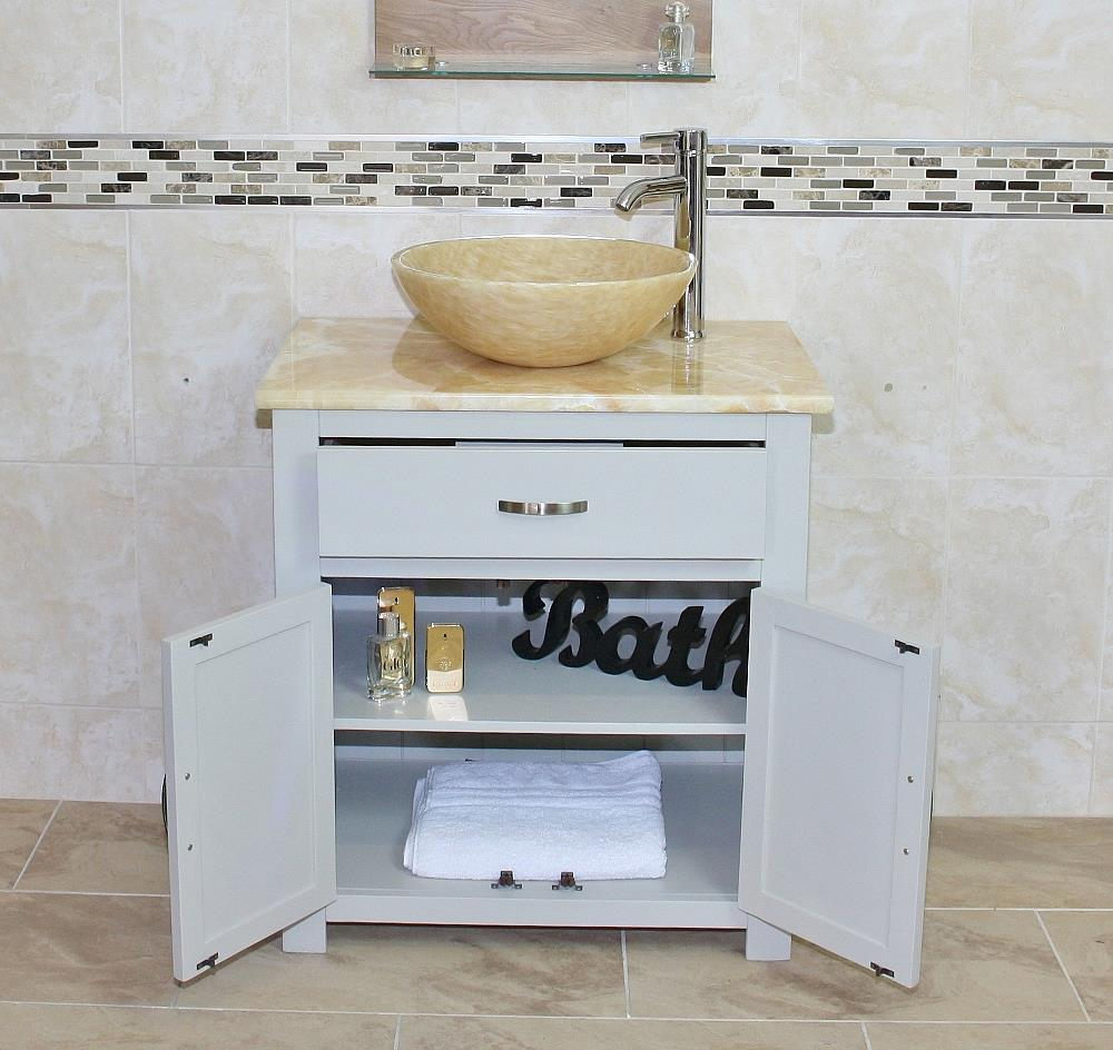 Bathroom Vanity| Light Grey Painted Cabinet Golden Onyx Top & Basin ...