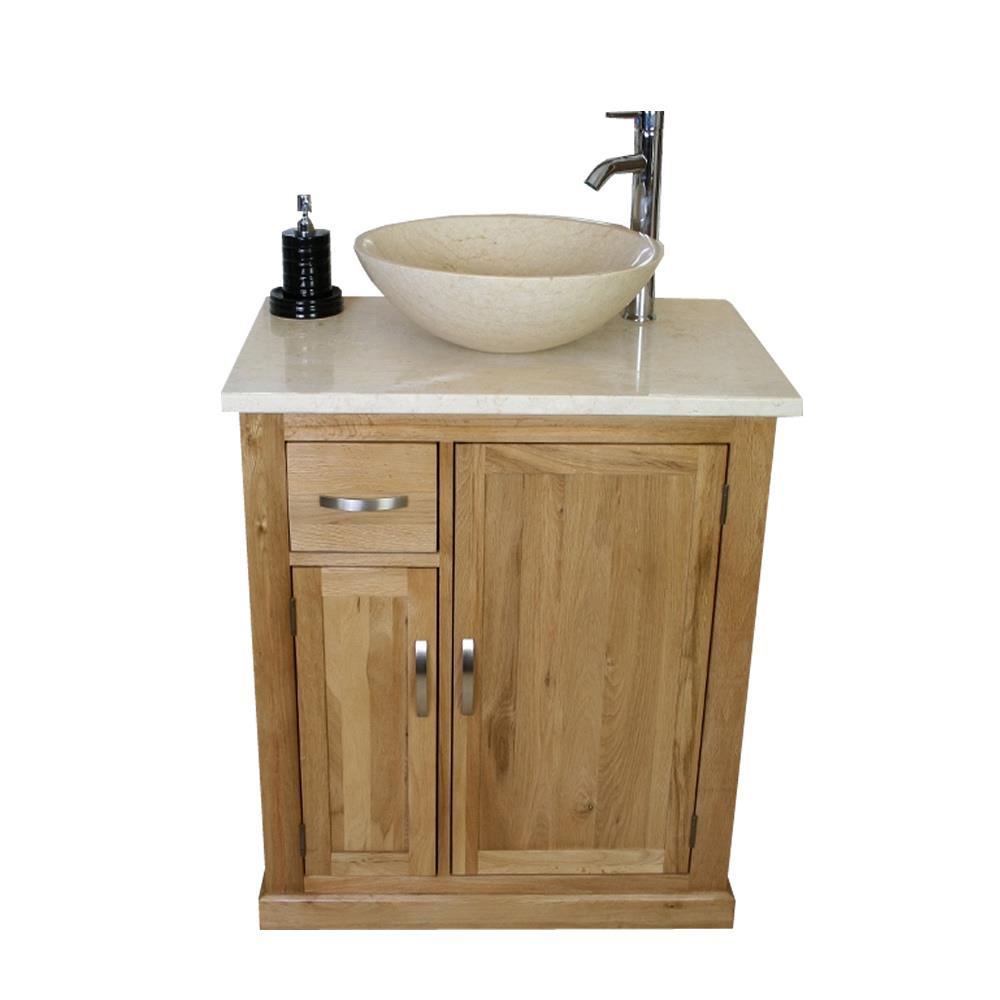 Bathroom Vanity Unit Free Standing Oak Cabinet Wash Stand Cream Marble Basin 503 Ebay