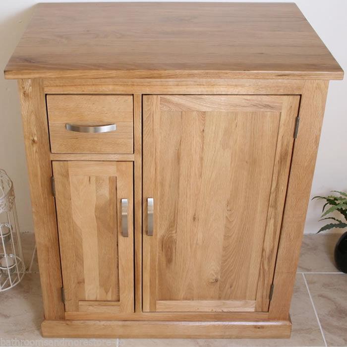 Solid oak bathroom furniture vanity cabinet cupboard for Bathroom cabinet 700