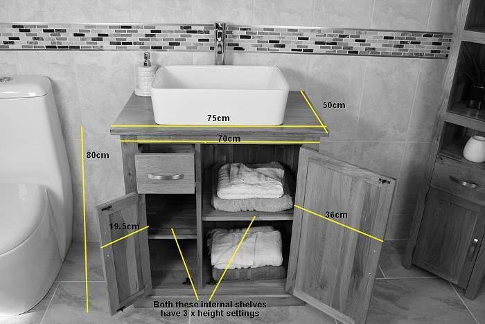 Solid Oak Bathroom Furniture Vanity Cabinet Cupboard Storage Unit 750mm Ebay
