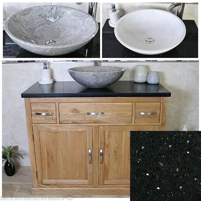 Bathroom Vanity Unit Oak Cabinet Wash Stand Black Quartz Marble Stone Basin 1161 Ebay