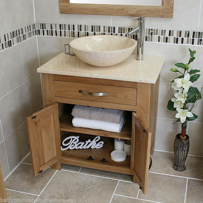 Bathroom vanity unit oak modern cabinet wash stand cream marble top basin 502 - Marble vanity units ...