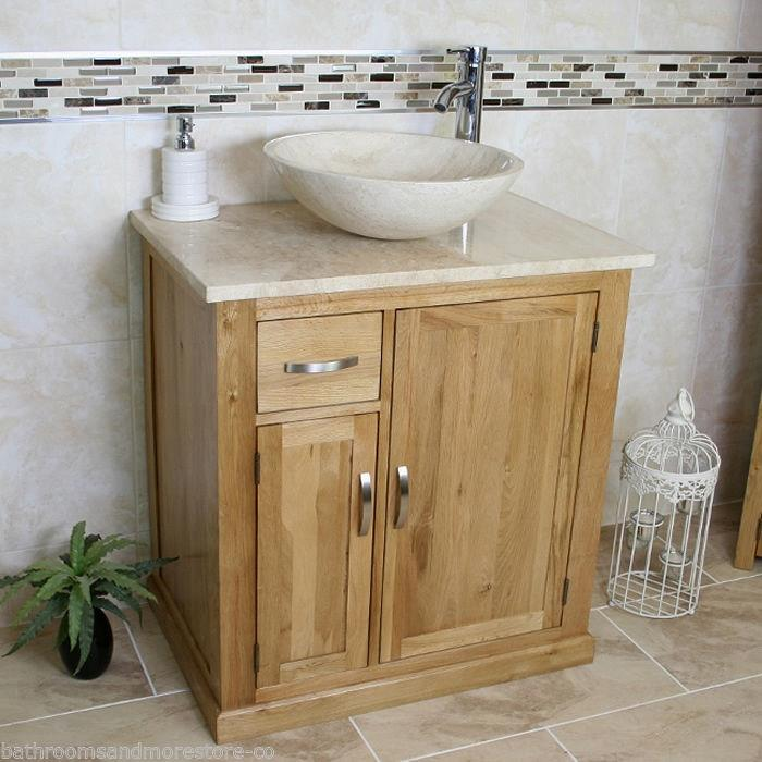 Bathroom Vanity Unit Free Standing Oak Cabinet Wash Stand Travertine Basin 503 Ebay