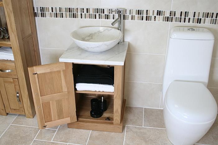 cloakroom bathroom vanity unit oak cabinet wash stand. Black Bedroom Furniture Sets. Home Design Ideas