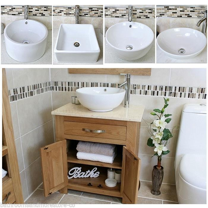 Bathroom Vanity Unit Oak Cabinet Wash Stand Cream Marble Ceramic Basin