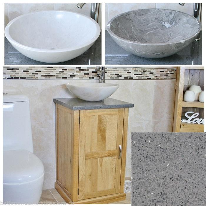 Cloakroom bathroom vanity unit oak cabinet quartz marble stone wash basin 309gq ebay - Marble vanity units ...