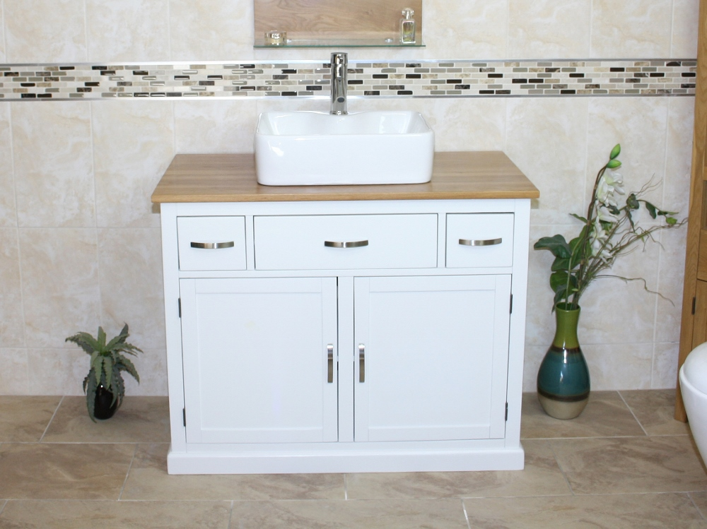 bathroom vanity unit off white cream cabinet wash stand with ceramic basin a ebay. Black Bedroom Furniture Sets. Home Design Ideas
