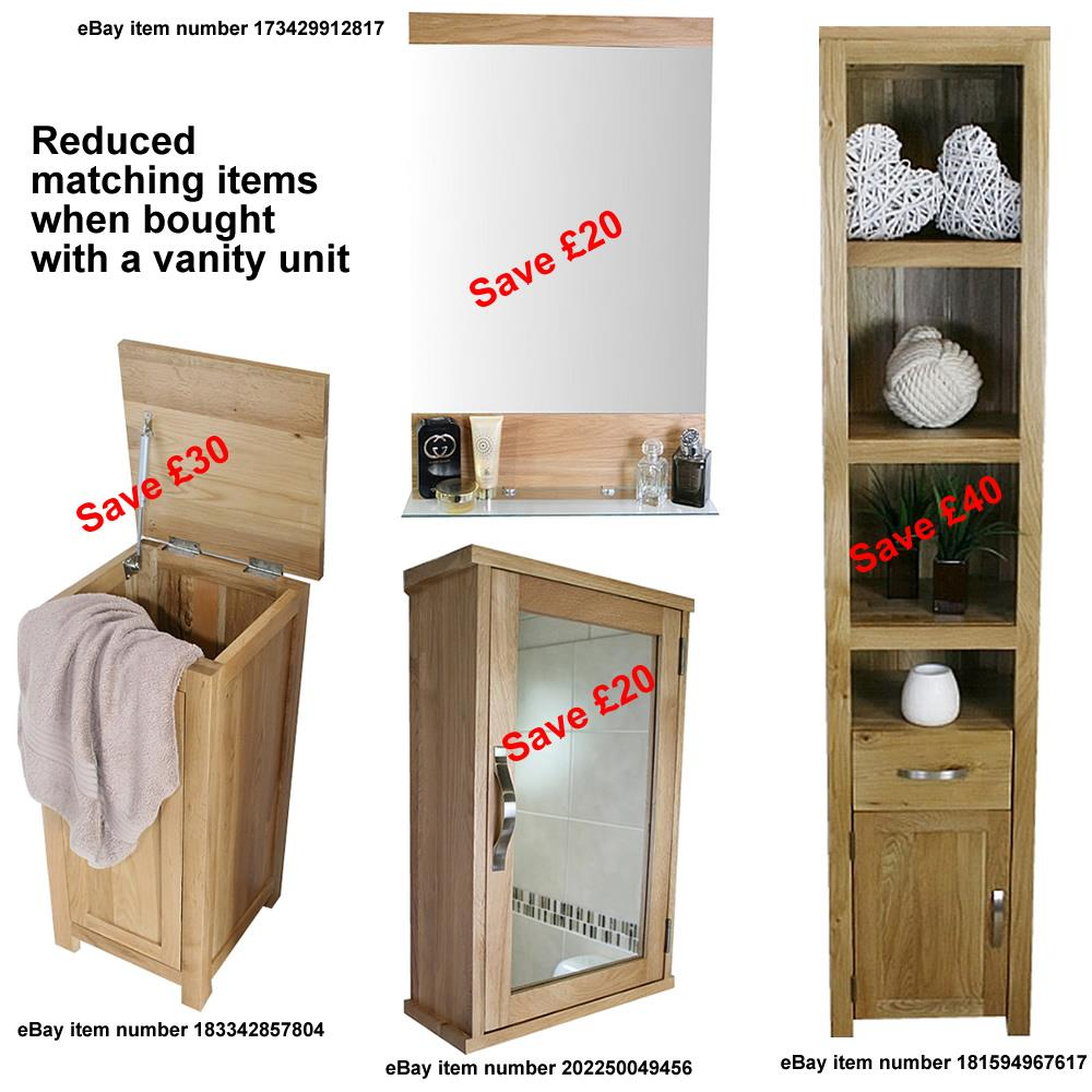 Details about Small Bathroom Cabinet  Solid Oak Bathroom Furniture   Narrow Bathroom Cabinet