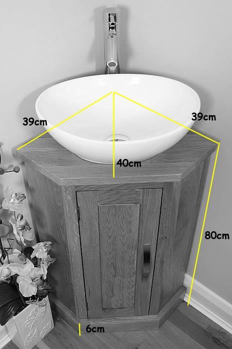 Solid Oak Bathroom Cabinet Cloakroom Corner Vanity Sink