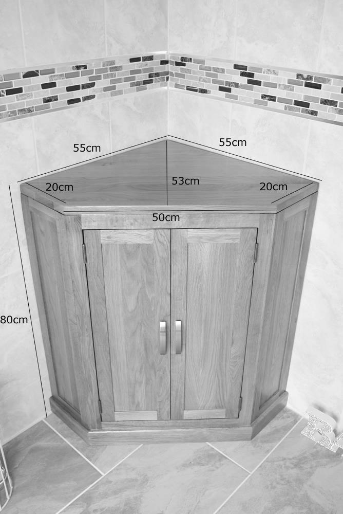 Solid Oak Bathroom Corner Vanity Unit Sink Basin Cabinet