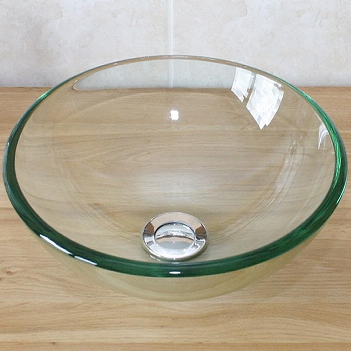 Glass bathroom basin sink cloakroom bowl with tap plug options 32cm diameter - Glass cloakroom basin ...