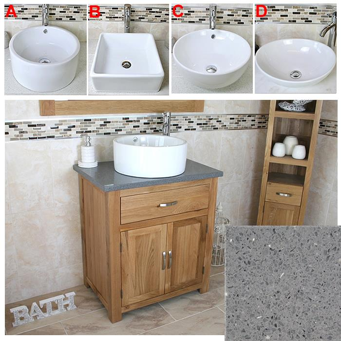 Solid Oak Bathroom Vanity Unit Oak Sink Bathroom Cabinet Stone Worktop Inc Ebay