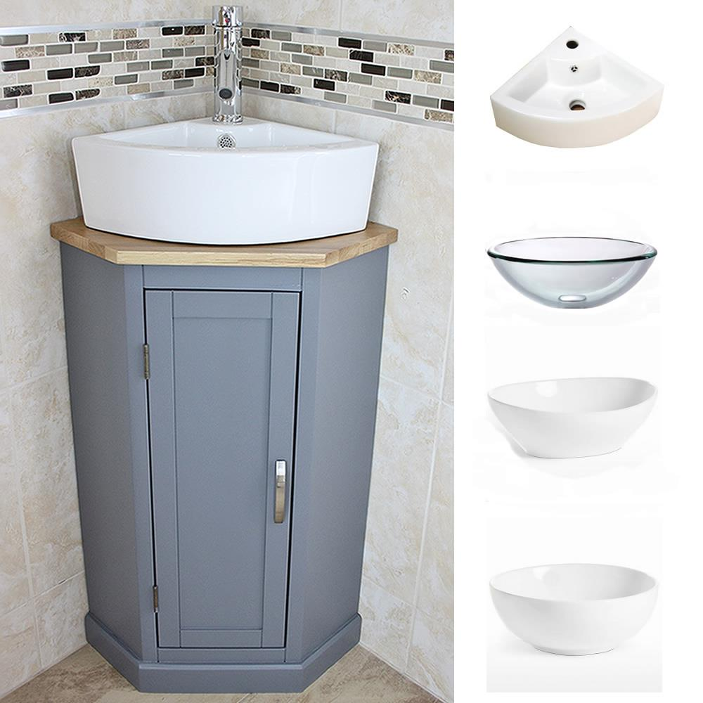 Grey Painted Bathroom Corner Compact Vanity Unit Ceramic Glass Basin Ebay
