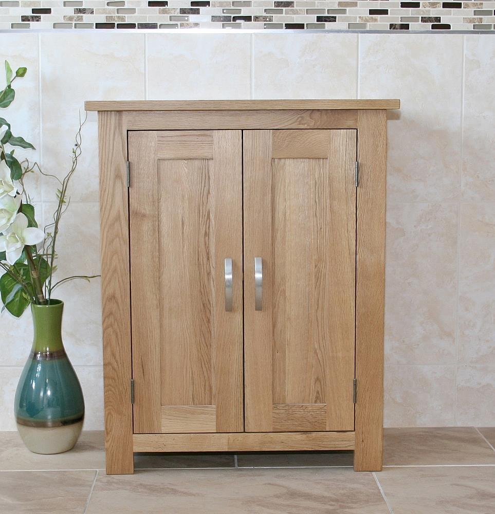 Slimline oak cloakroom bathroom vanity cabinet bathroom for Slimline bathroom cupboard