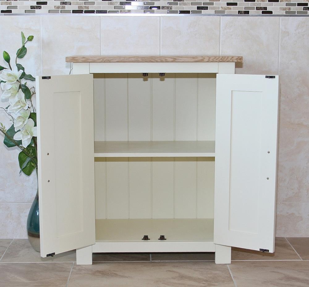 slimline oak top painted wood cloakroom vanity cabinet. Black Bedroom Furniture Sets. Home Design Ideas