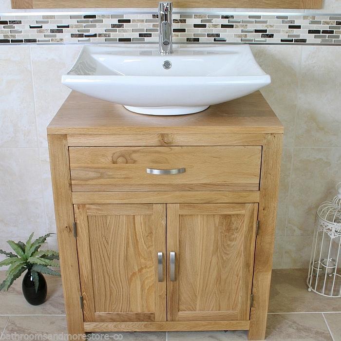 Bathroom Vanity Unit Oak Sink Cabinet Wash Basin Tap Option