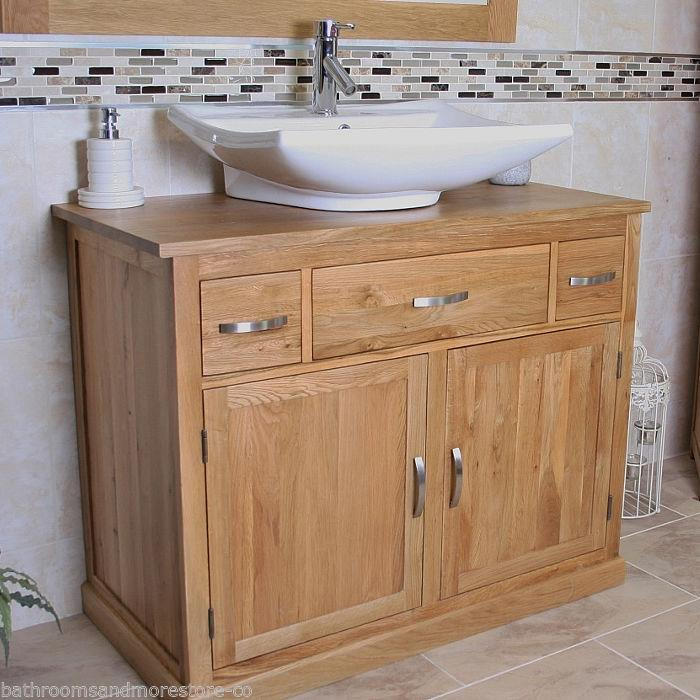 Bathroom vanity unit oak sink cabinet wash basin tap for Bathroom wash basin with cabinet