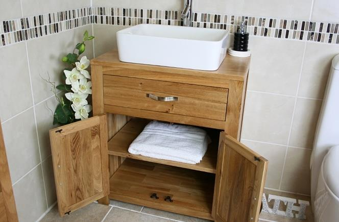 Bathroom Vanity Unit Oak Sink Cabinet Wash Basin
