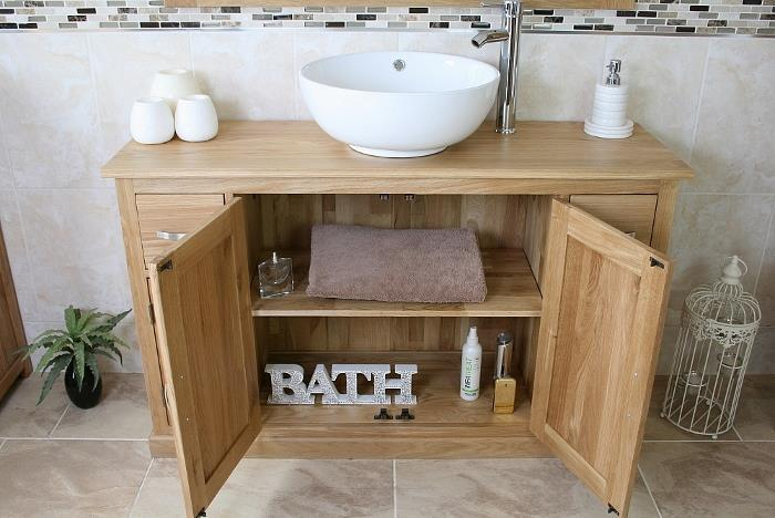Bathroom Vanity Unit | Oak Sink Cabinet | Wash Basin Tap Option ...