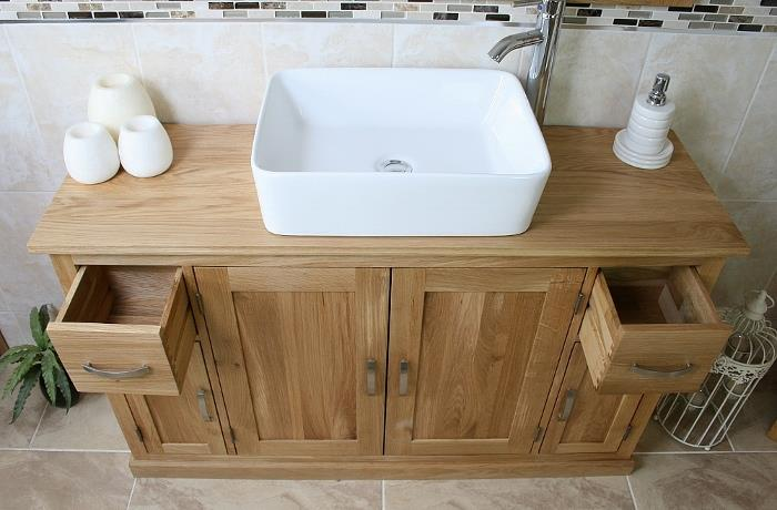Bathroom Vanity Unit Oak Sink Cabinet Wash Basin  Tap Option