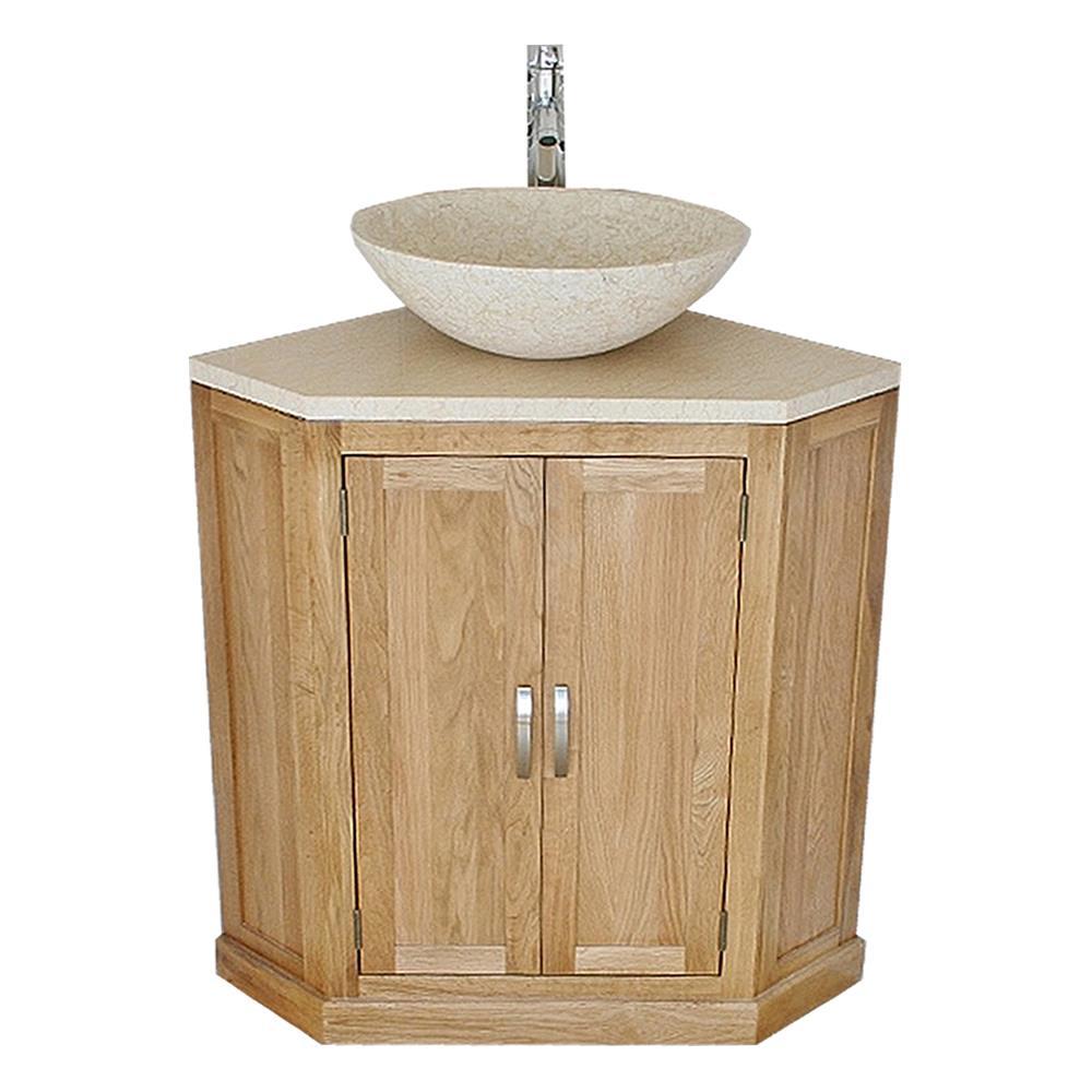 Bathroom Vanity Unit Free Standing Oak Corner Cabinet Cream Marble Top Basin Ebay